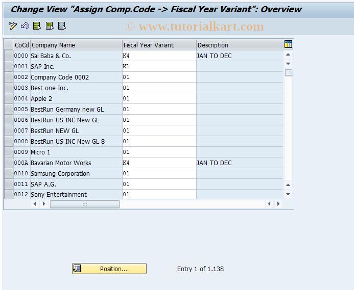 SAP TCode OB37 - C FI Maintain Table T001 (PERIV)