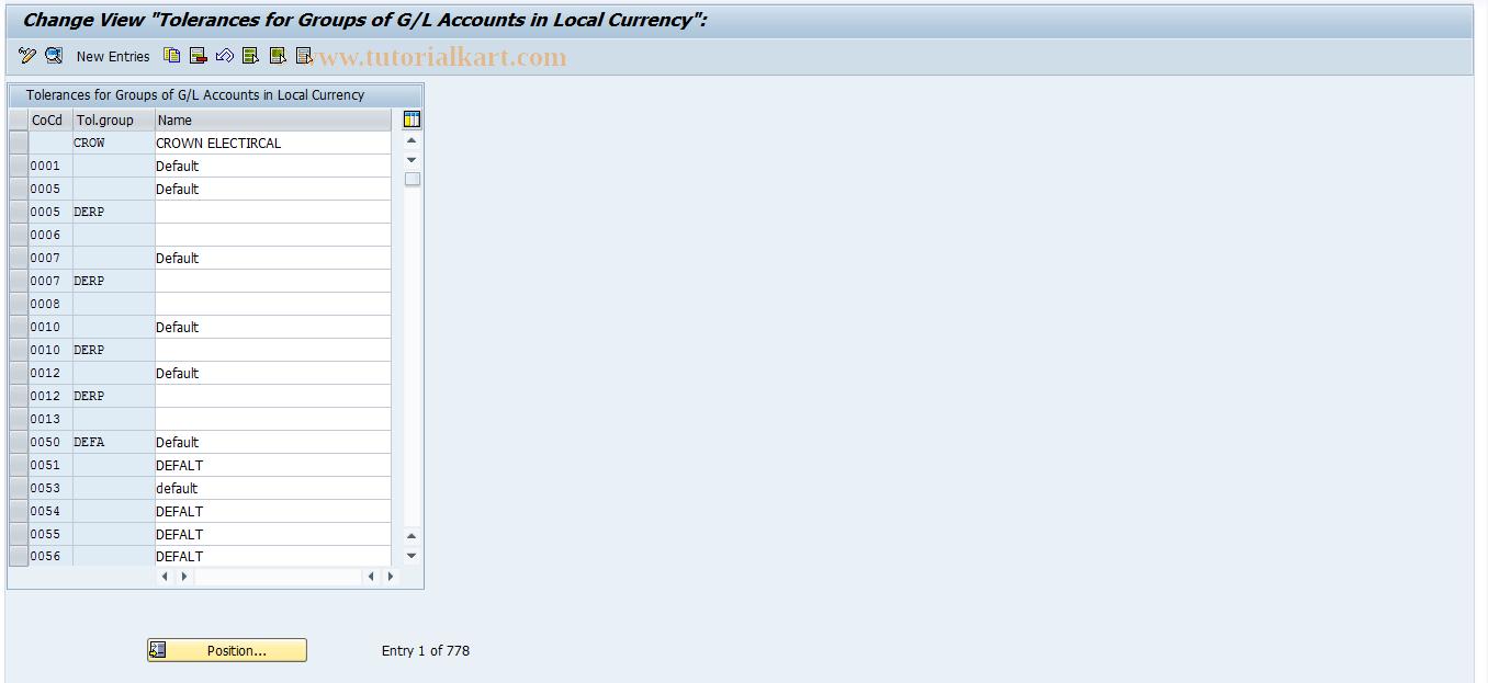 SAP TCode OBA0 - G/L Account Tolerance Groups