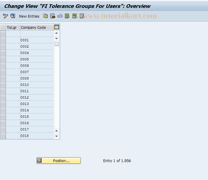 SAP TCode OBA4 - C FI Maintain Table T043T