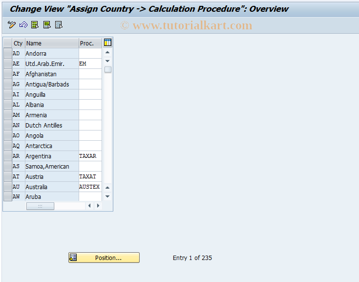 SAP TCode OBBG - C FI Maintain Table T005 (KALSM)