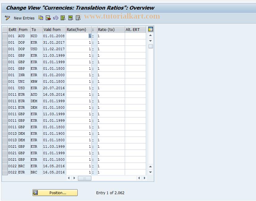 SAP TCode OBBS - C FI Maintain Table TCURF