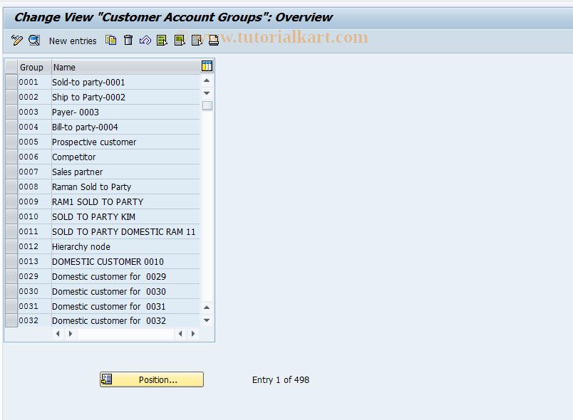SAP TCode OBD2 - C FI Maintain Table T077D