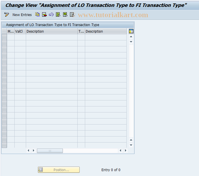 SAP TCode OBML - Assgmt LO Trans Type to FI Trans Typ