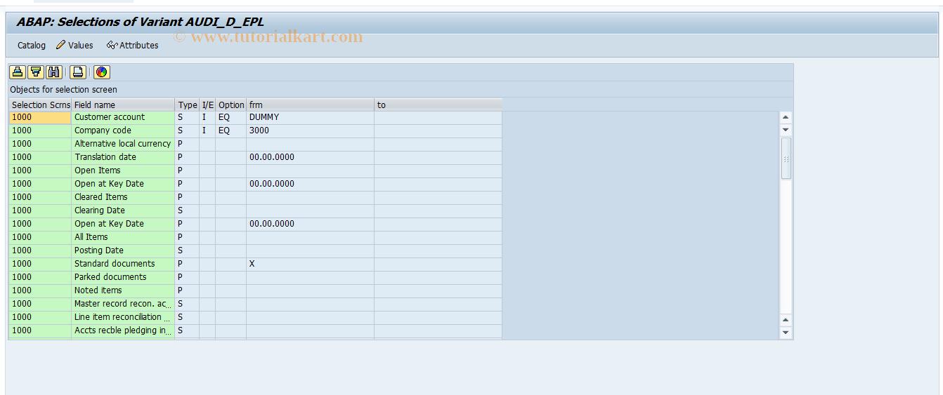 SAP TCode OBN1 - C FI Month End OI Customer List