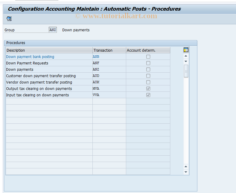 SAP TCode OBXB - C FI Table T030
