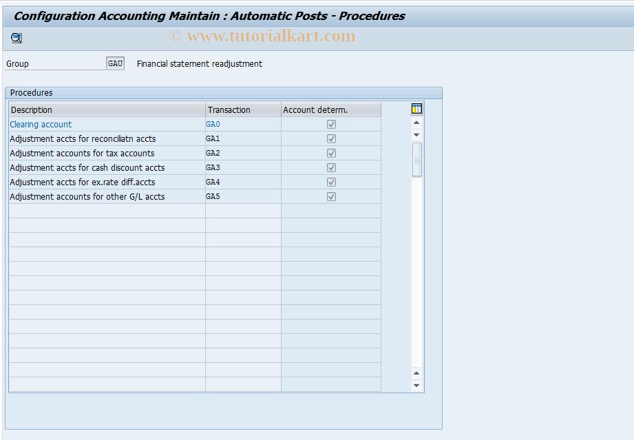 SAP TCode OBXM - C FI Table T030