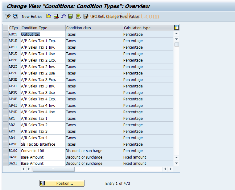 SAP TCode OBYZ - C FI Condition Components