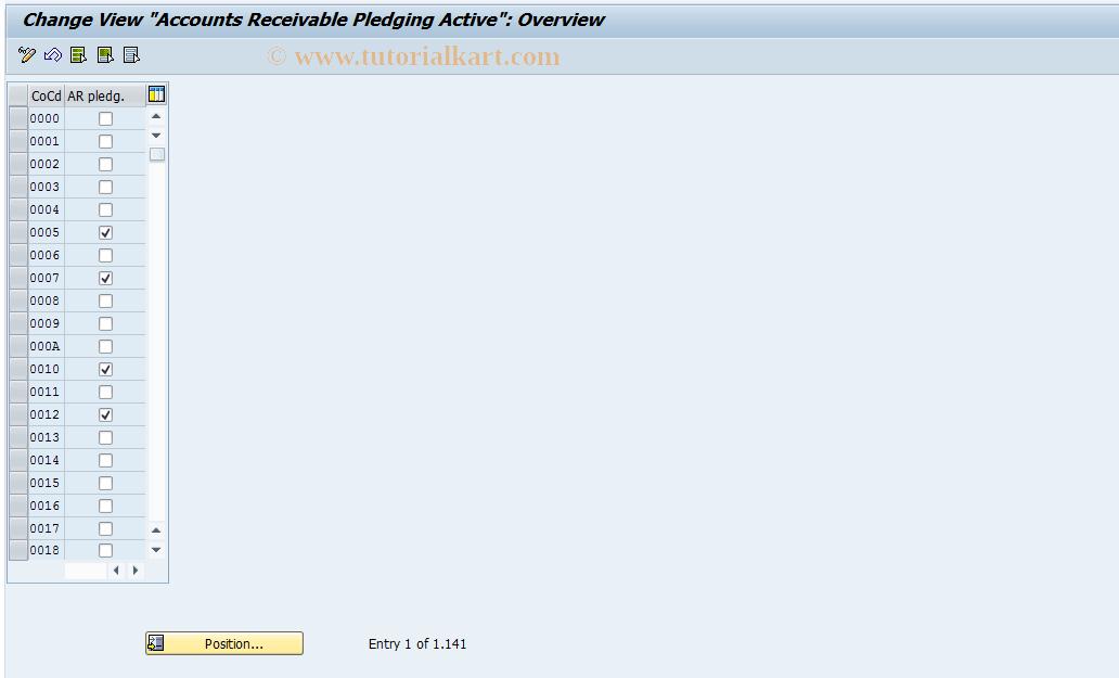 SAP TCode OB_T001_CESSION - FI Customizing: Accounts Rble Pledging