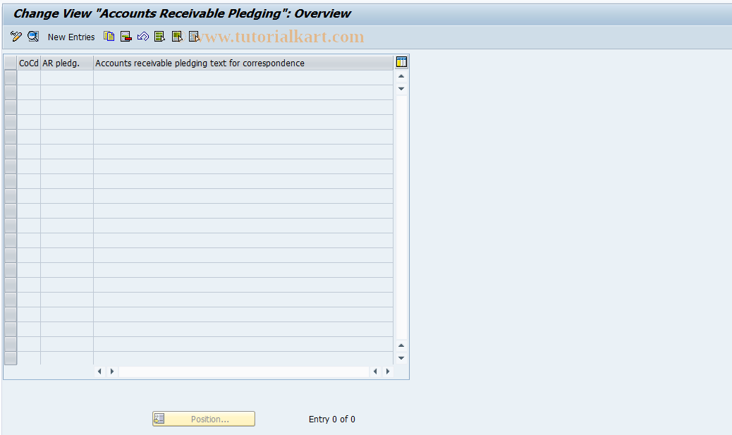 SAP TCode OB_V_CESSION - FI Customizing: Accounts Rble Fact.Ind.