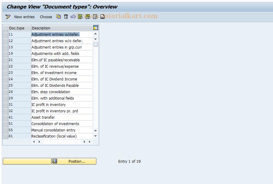 OC33 SAP Tcode : Customize document types Transaction Code