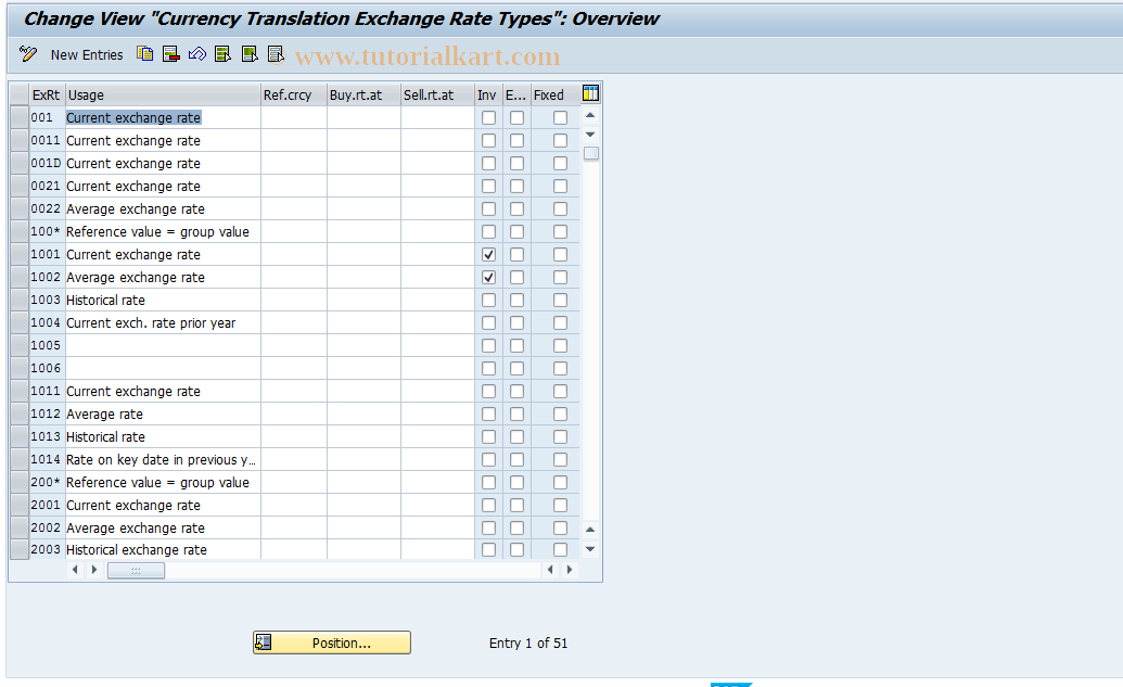 SAP TCode OC47 - Maintain E/R Types for Crcy Transl.