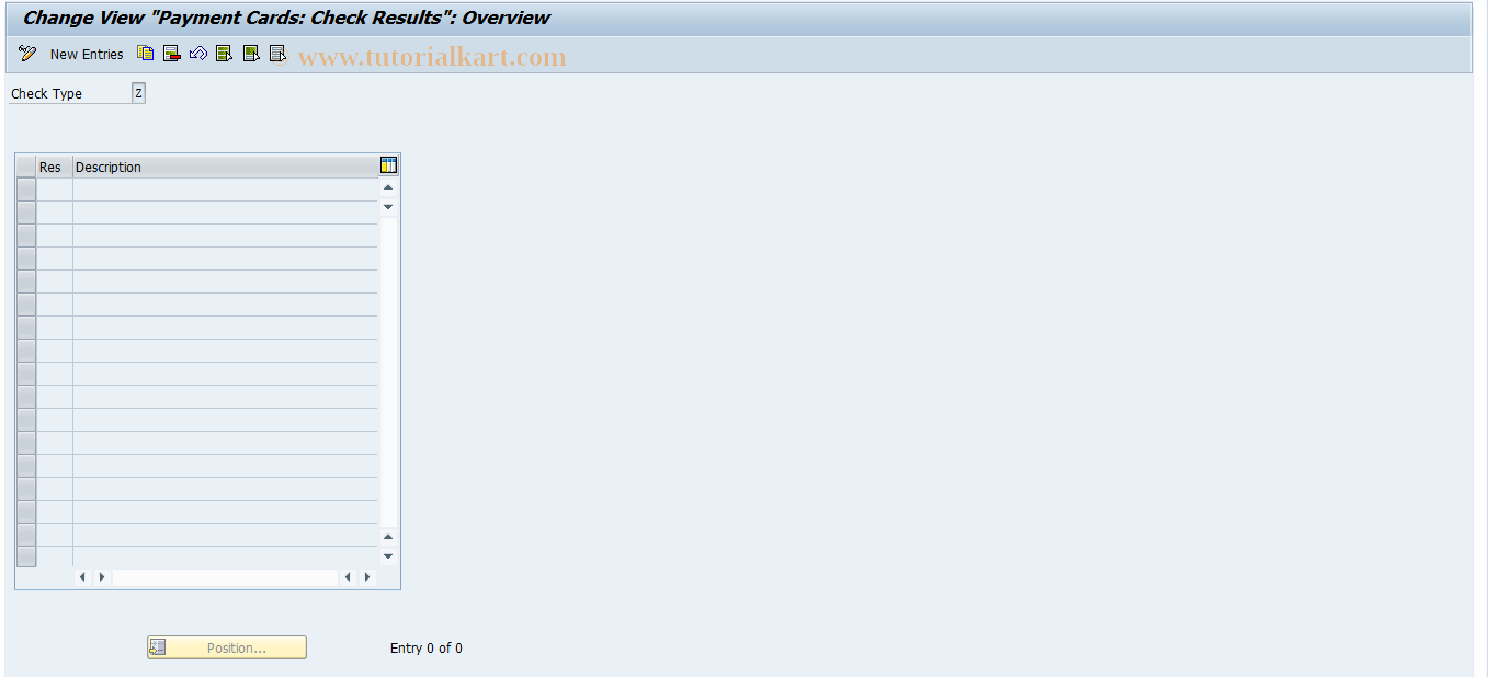 SAP TCode OCR3 - Payment Cards: Check Results