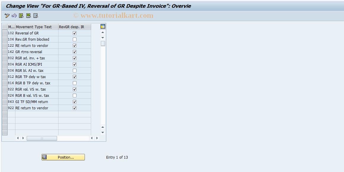 OMBZ SAP Tcode : Rev  GR Despite Invoice Transaction Code