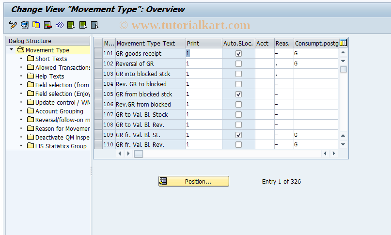 OMJJ SAP Tcode : Customizing: New Movement Types Transaction