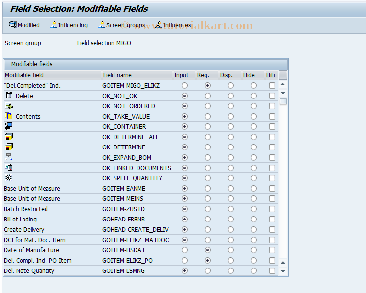 OMJX SAP Tcode : GR Field Selection From Procurement