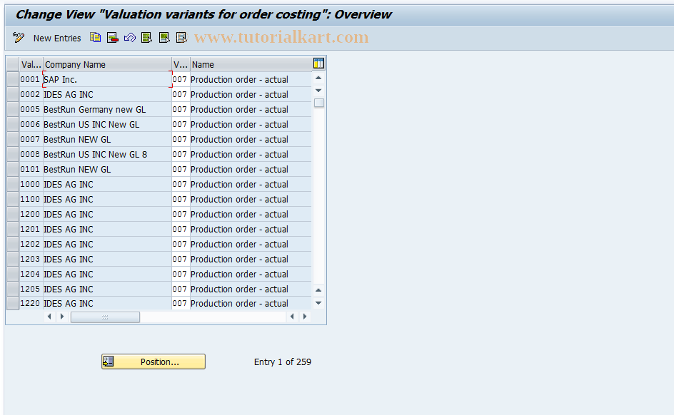 OPK9 SAP Tcode : Maintain Goods Receipt Valuation