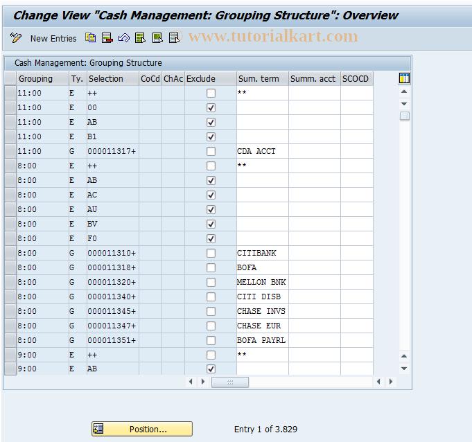OT17 SAP Tcode : C FI Maintain Table T038 Transaction Code