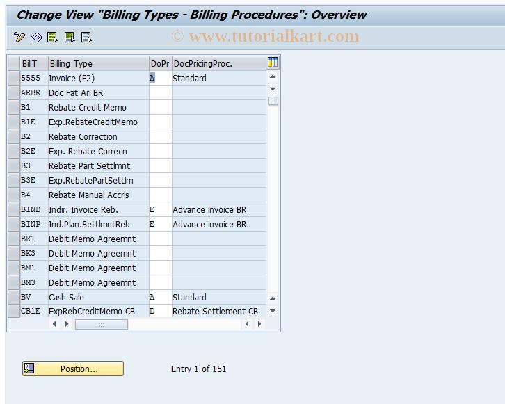 OVTP SAP Tcode : C SD Table TVFK Billing Procedure