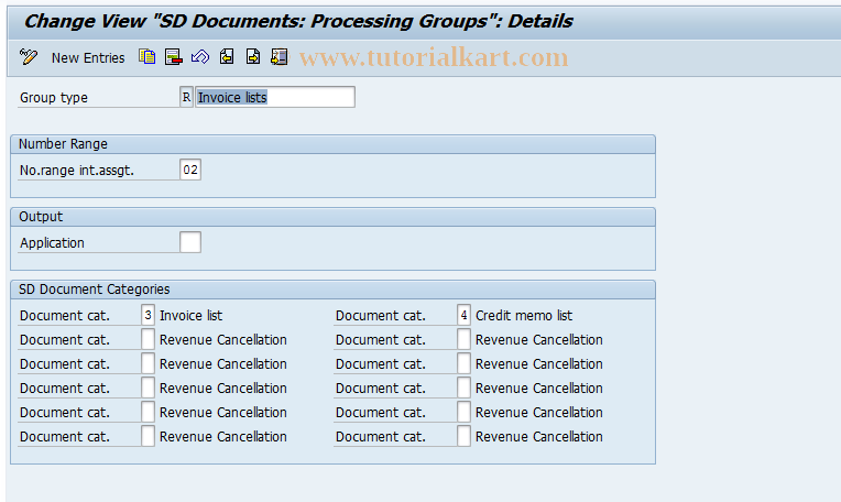 OVVR SAP Tcode : Group for Invoice Lists Transaction Code
