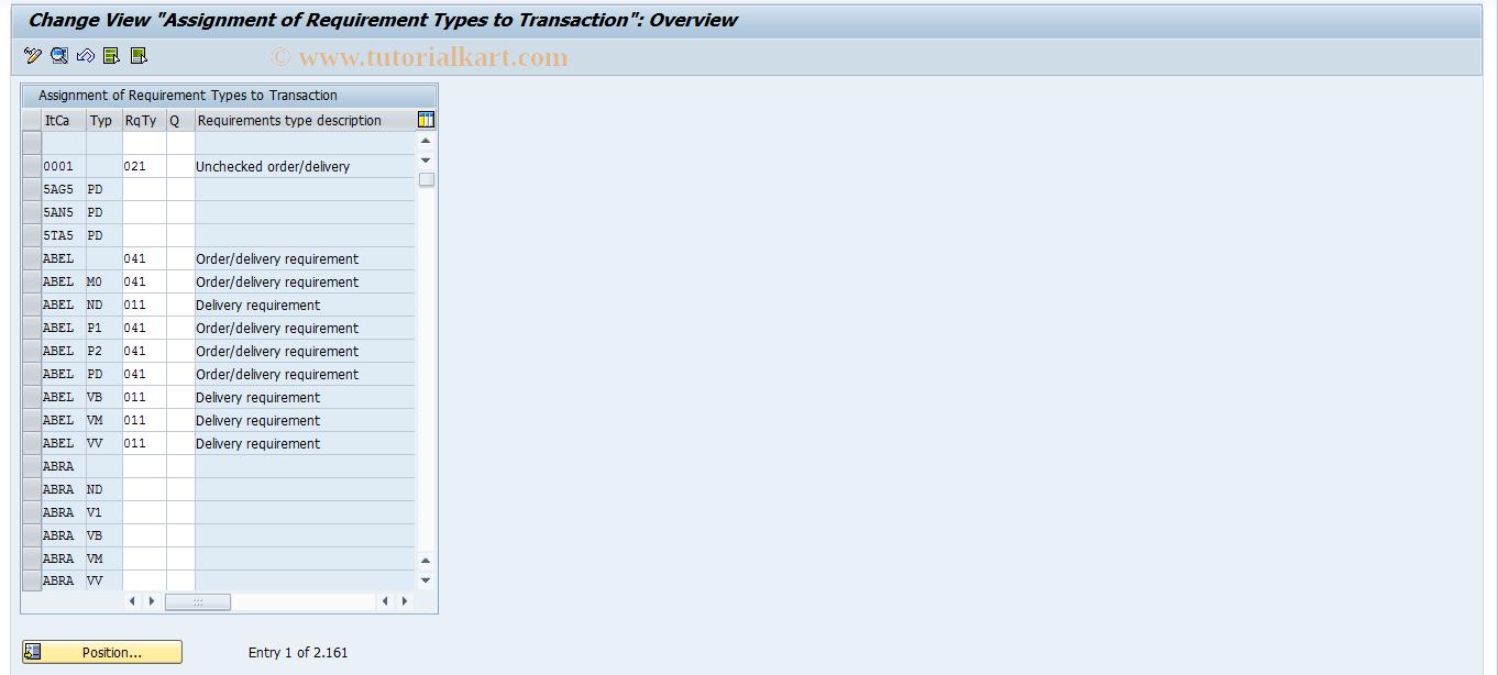 OVZI SAP Tcode : SD Cust: Assignment Req/Transaction
