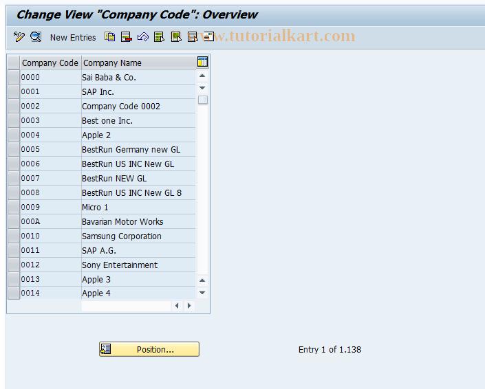 SAP TCode OX02 - Customizing: Company Code Setup