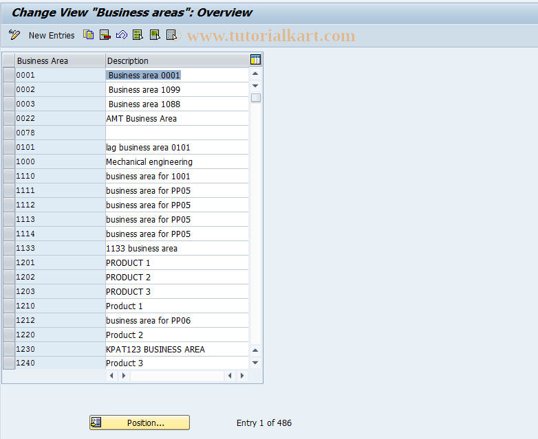 SAP TCode OX03 - Customizing: Business Area Setup