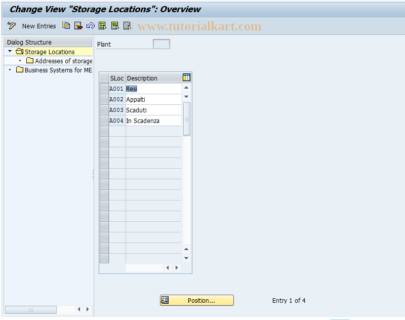 SAP TCode OX09 - Customize storage locations
