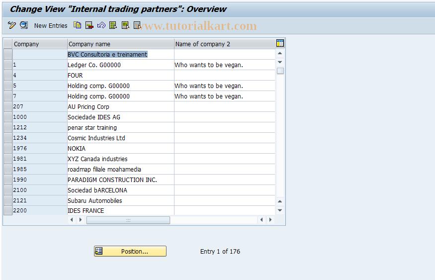 SAP TCode OX15 - Define internal trading partner