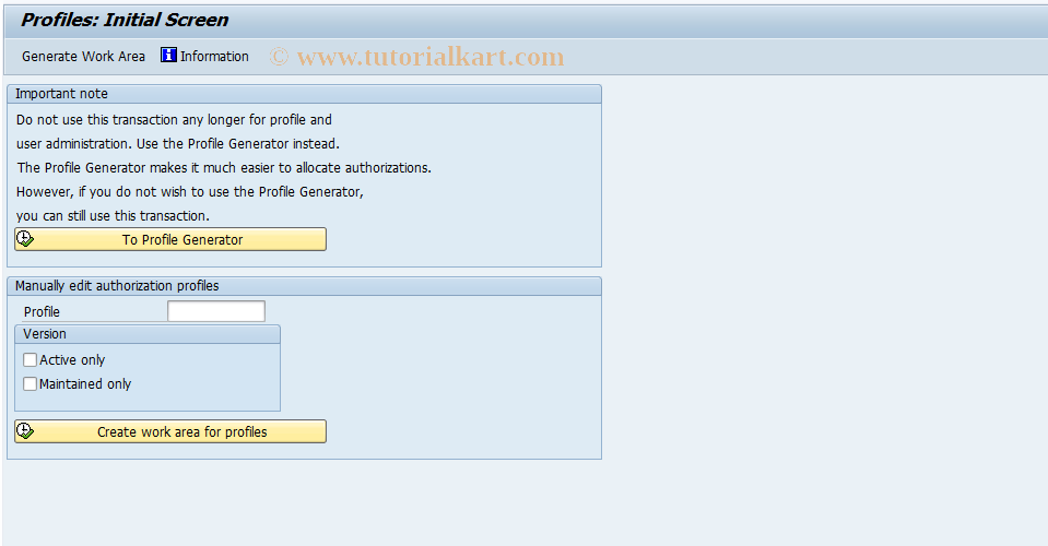 SAP TCode OY21 - User profiles            Customizing