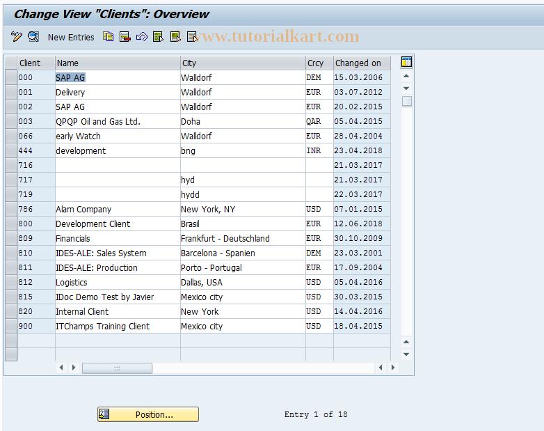 SAP TCode OY25 - CS BC: Set Up Client