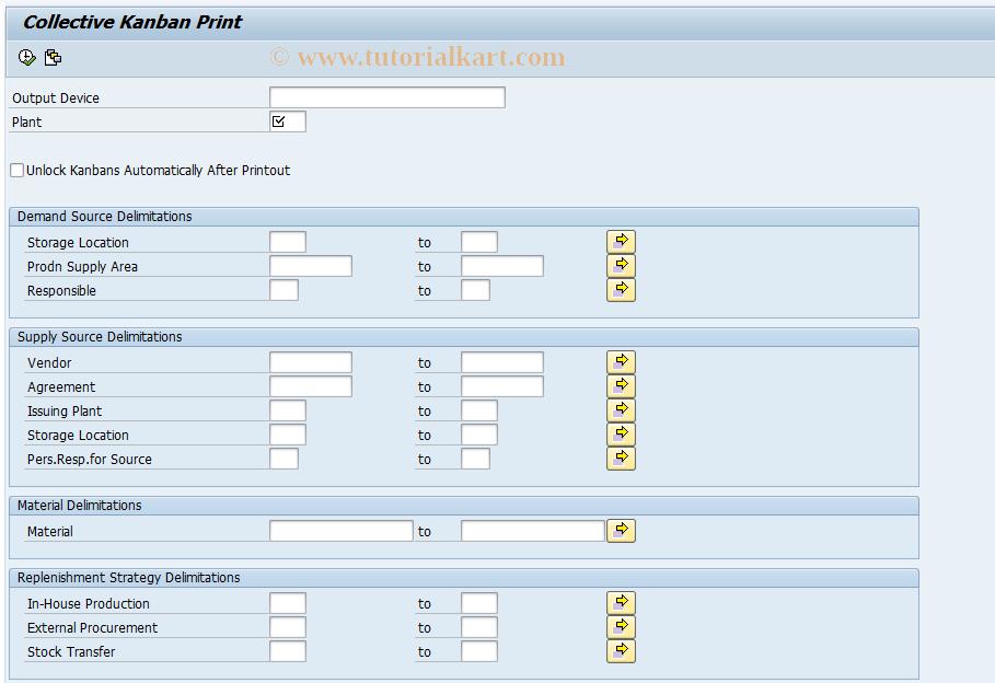 PK17 SAP Tcode : Collective Kanban Print Transaction Code