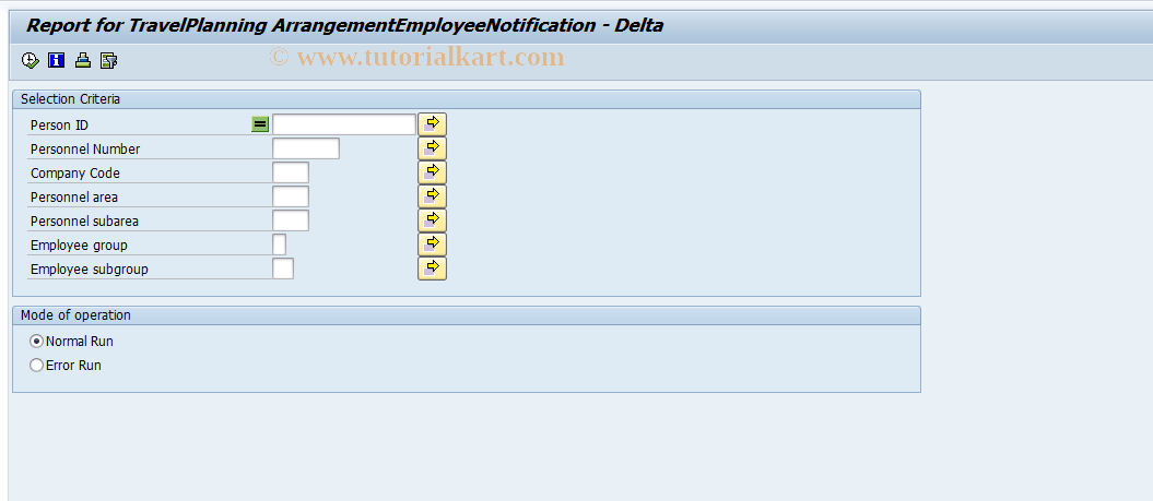 SAP TCode PTRM_PLARR_DELTA_UP - Delta upload TrvPlArrgNotifcation