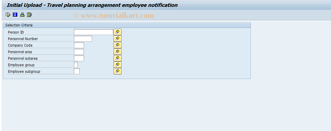 SAP TCode PTRM_PLARR_INI_UP - Intial upload TrvPlArrgNotifcation