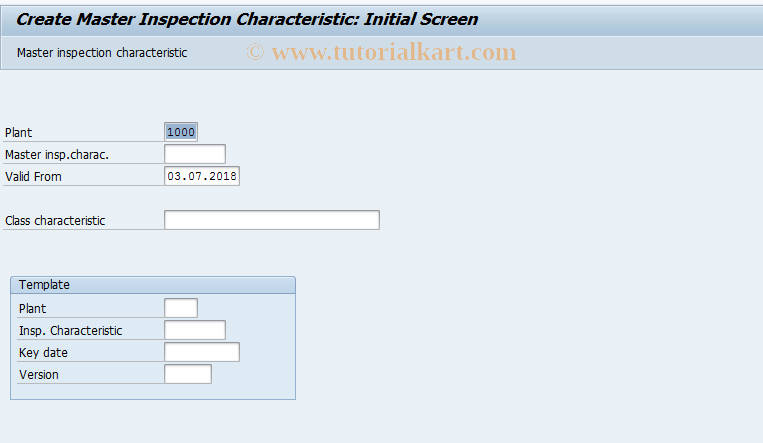 SAP TCode QS21 - Create master inspection characteristic