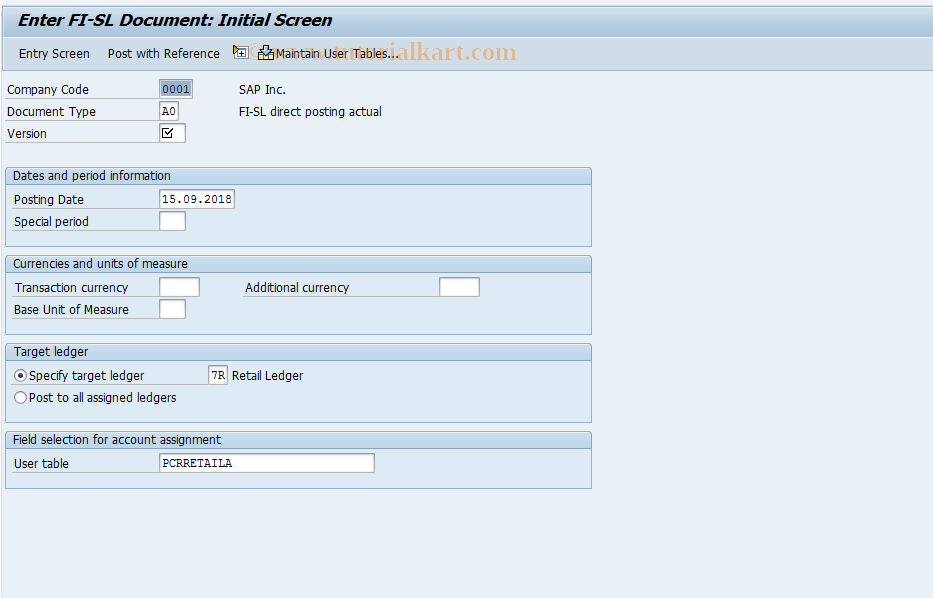 SAP TCode RETAIL_GB01 - Retail Ledger: Post Document