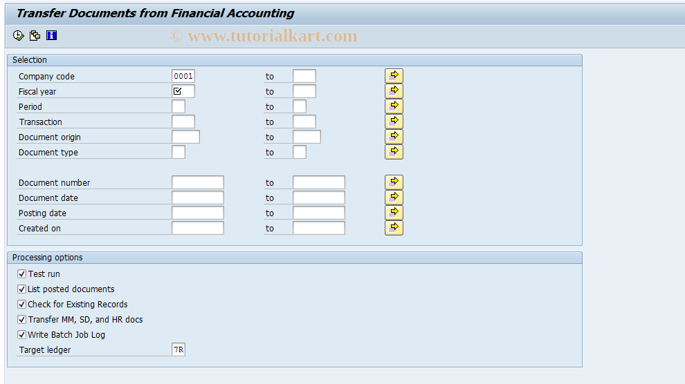 SAP TCode RETAIL_GCU1 - Retail Ledger: Transfer Data from FI