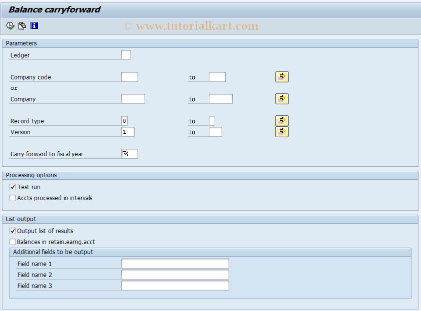 SAP TCode RETAIL_GVTR - Balance C/F Retail Ledger