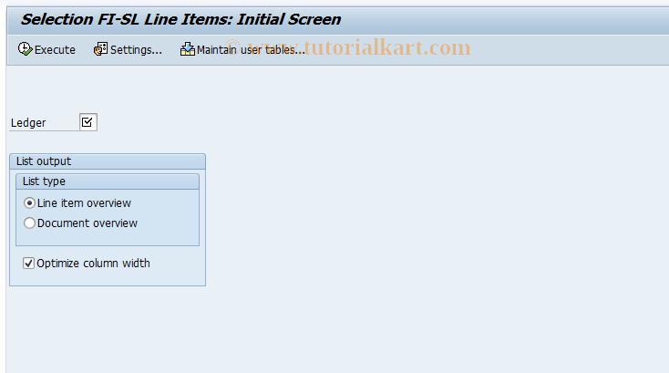 SAP TCode RETAIL_ITEMS - Line Items Retail Ledger