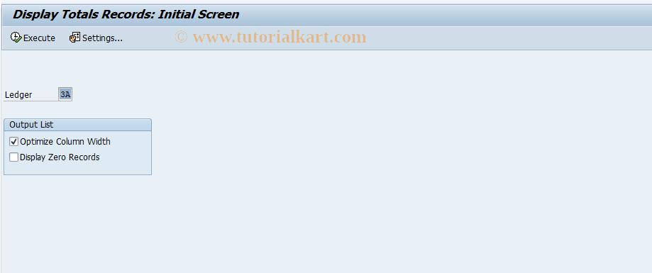 SAP TCode RETAIL_TOTALS - Retail Ledger:Display Totals Records