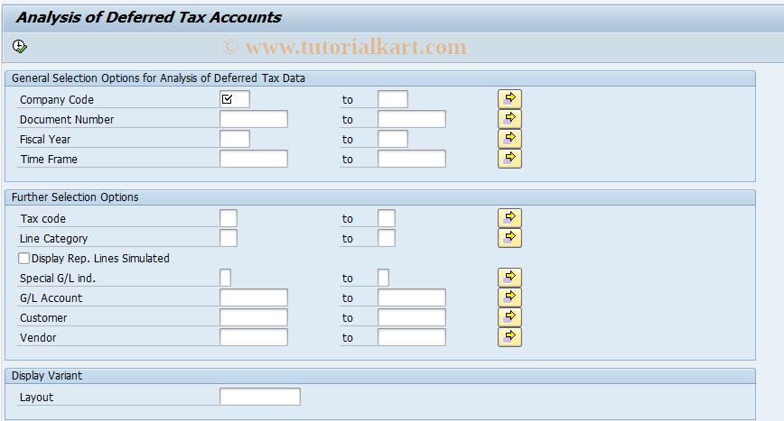 SAP TCode RFUMSV52 - Analysis of Deferred Tax Accounts