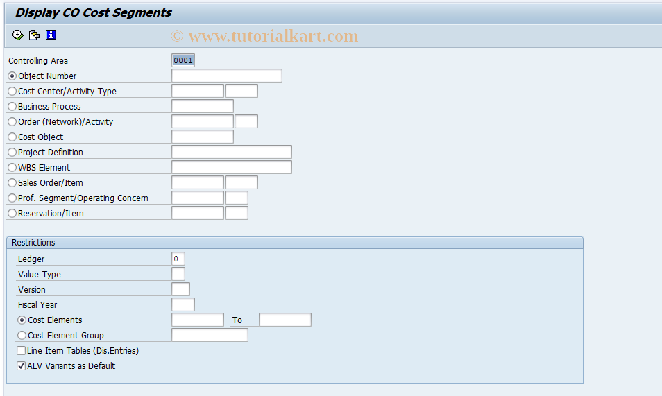 RKACSHOW SAP Tcode : Display CO Cost Segments Transaction Code