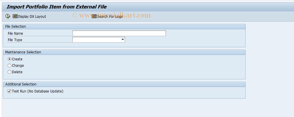 SAP TCode RPM_DX_ITEM - Import Item from External File