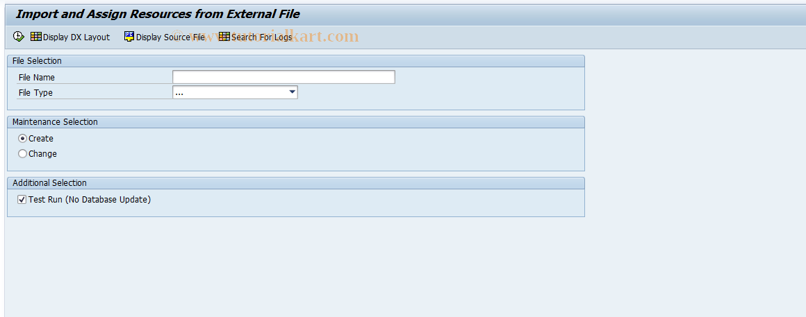 SAP TCode RPM_DX_RES_ASSIGN - Import Item from External File