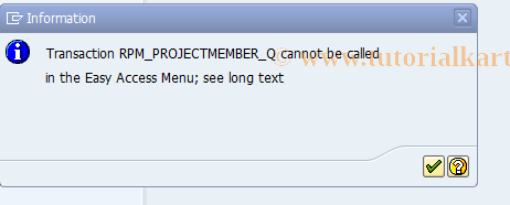 SAP TCode RPM_PROJECTMEMBER_Q - Authorization for Project Member