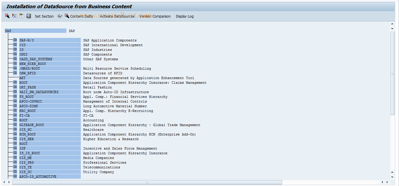 SAP TCode RSA5 - Install Business Content