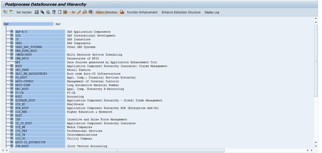 SAP TCode RSA8 - DataSource Repository
