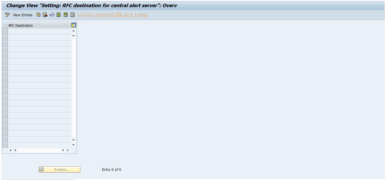 SAP TCode SALRT01 - Maintain RFC Dest. for Alert Server
