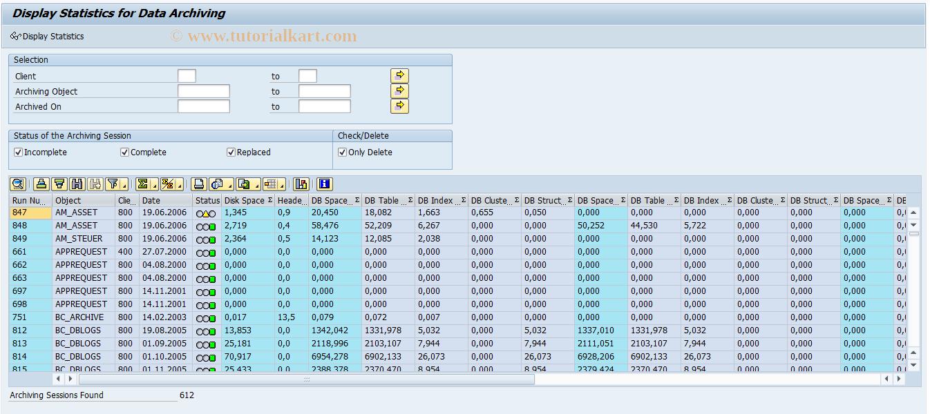 SAR_DA_STAT_ANALYSIS SAP Tcode : Analysis of DA Statistics