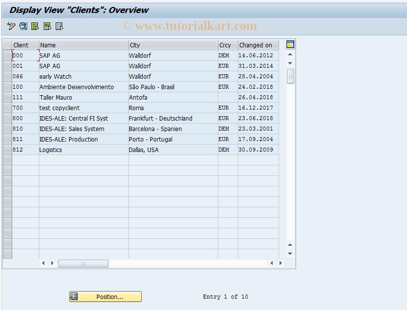 SAP TCode SCC4 - Client Administration
