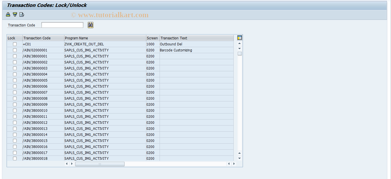 SAP TCode SM01 - Lock Transactions